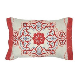 "Villa Home - illa Home Indigo Cheyenne Twist Pillows, Set of 2 - The ethnic flare of the Indigo Cheyenne Twist Pillows by Villa Home is fresh and current. The tribal inspired medallion is printed across the front and even onto the 1"" side flanges. Embroidered in just the right spots, the vibrant red, blue and coral pillows are 100% cotton slub. (VH) Sold as a pair. Feather down inserts included. 20"" wide x 14"" high"