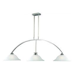 Joshua Marshal - Three Light Brushed Nickel White Linen Glass Pool Table Light - Finish: Brushed Nickel