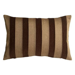 Pillow Decor - Pillow Decor - Brackendale Stripes Brown Rectangular Throw Pillow - Made from a beautiful and durable upholstery fabric, this rectangular throw pillow has bold vertical stripes in a camel and chocolate brown weave alternating with rich chocolate brown chenille stripes. The contrasting texture of the stripes give this pillow depth and beauty.