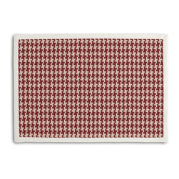 Red Handwoven Houndstooth Tailored Placemat Set - Class up your table's act with a set of Tailored Placemats finished with a contemporary contrast border. So pretty you'll want to leave them out well beyond dinner time! We love it in this red & cream woven cotton houndstooth that will cozy up the classic home.