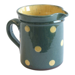 Large Polka Dots Pitcher, Blue - This charming handmade, hand-painted pitcher is spot on. Designed by Richard Esteban, it's punctuated with large polka dots for a fun and festive look that will make your guests feeling immediately relaxed. Use it to serve everything from water to lemonade to icy margaritas. Or, fill it with a bouquet of fresh-cut flowers.