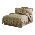 Pem America - Edens Garden King Quilt with 2 Shams - Flowering vines on a bed of sage green with detailed machine stitching and scalloped edges.  Eden's Garden is a classic quilt used in understated luxury. King Quilt measures 100 inches by 90 inches. Includes 2 standard shams. 100% Cotton Face cloth with 94% cotton / 6% other fiber fill. Machine Wash cold/gentle, no bleach, tumble dry.  Pattern and size may vary due to hand crafting.