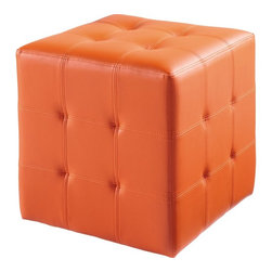 Sunpan - Dario Ottoman, Orange Leatherette - These functional and attractive ottomans can be used for all sorts of things in any home or office. Stocked in white, black, red, grey and orange faux leather. Amazing price.