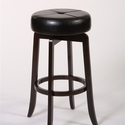 Hillsdale Furniture - Backless Stool (30 in. Bar Height) - Choose Size: 30 in. Bar HeightSolid hardwoodRich walnut finishSegmented designBlack vinyl seat. 16 in. W x 16 in. D x 27 in. H (13 lbs.)Simple and understated, the Rhodes Backless Stool is an accommodating partner for any design aesthetic. Constructed of solid hardwood in a rich walnut finish, the Rhodes is a sturdy classic featuring a 360 degree swivel stool. The seat is covered in black vinyl that shows off its segmented design Some assembly required.