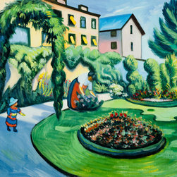 "overstockArt.com - Macke - The Macke Garden at Bonn (Gartenbild) - 20"" X 24"" Oil Painting On Canvas Originally painted in 1911, this lovely landscape scene is of the artist's own yard. The Macke Garden at Bonn has well defined geometric shapes mixed with the blurred lines of Impressionism show integration between the two disciplines. The cool arrangement is bright and cheerful. This piece would make a wonderful addition to any room. August Macke (1887 - 1914) was one of the leading members of the German Expressionist group Der Blaue Reiter (The Blue Rider). His style was formed within the mode of French Impressionism and Post-Impressionism and later went through a Fauve period. Macke preferred harmonious scenes with ordinary subjects in everyday situations; he found the beauty in the banality of ordinary experiences. Macke concentrated on color and style to create depth and feeling. His highly developed style integrates Cubism and explores color variations to define the spatial relationship between hues. His overall life's work is a collection of stunning color and quiet scenes; the development of his peerless style is said to be the precursor to modern art."