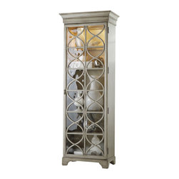 Silver Nest - Circular Trim Curio Cabinet - Concentric circles bring a relaxing harmony to this display cabinet