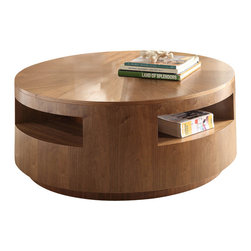 Homelegance - Homelegance Aquinnah 2-Piece Round Coffee Table Set in Walnut - Taking the lines of hard contemporary design and softening them for your living space, is the Aquinnah collection. The round drum table set is a unique blend of trend driven design and subdued contemporary naturalism. Walnut veneers are covered in a natural finish to enhance the design. Display shelving is cleverly carried through the piece allowing for a continuous view. Casters under the cocktail table allow for easy movement.