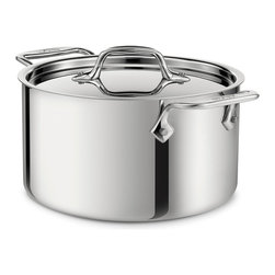 All-Clad Stainless Steel 4 Qt. Casserole With Lid - The All-Clad 4 qt. casserole features high  straight sides with a smaller surface area that hold heat well while limiting evaporation. Ideal for boiling or blanching a wide variety of foods or simply reheating smaller batches of soups  chili  and vegetables  the versatile casserole can be used to cook  warm and serve  with or without its lid  as the occasion demands.  Product Features      Premium tri-ply construction delivers even heat distribution   Interior starburst finishing provides superior stick resistance   Engraved capacity marking on the bottom of the pan   Easy grip riveted loop handles provides stability   18/10 stainless steel cooking surface will not react with food