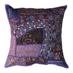 Antique Purple Heavy Beaded Patchwork Embroidered Accent Throw Pillow Cover Sham -