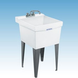 Mustee 18F Single Basin Floor Mount Utility Sink - The Mustee 18F Single Basin Floor Mount Utility Sink provides a convenient place to help juggle your loads of laundry. This free-standing unit has an 18-gallon tub made from marbleized white Durastone (a blend of fiberglass, stone, and resin that's naturally resistant to mold and mildew). A self-draining back shelf (with a retainer curb) helps make sure that spills end up in the basin and not on the floor. The unit is supported by heavy gauge steel legs and is easy to assemble. Leak-proof drain includes a stopper. Unit is fitted for a 4-inch diameter faucet (not included). About Trumbull IndustriesFounded in 1922 as a single branch plumbing supply house, Trumball Industries has evolved over the years in to a privately held corporation and full-line distributor with specialized divisions. With 6 branch locations, Trumball Industries has several divisions: an Industrial Division that provides products and services to industrial manufacturers, a Home Center Division that offers expertise in all major kitchen and bath products, a Municipal Division that offers a full line of water and sewer products, and a Master Distribution Center with 500,000 square feet housing over 80,000 products. Aside from providing quality services to their customers, the people at Trumbull Industries are happy provide a tour of any of their facilities as well as assist you with any design, layout, or purchasing decisions.