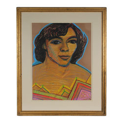 Lost Art Salon - Original Framed Mid Century di Cosola Pastel Portrait - Put a pop of pastel on your wall, with this pleasing portrait by San Francisco artist Michael di Cosola. This charming pastel on paper piece comes in a restored midcentury wood frame, to match the vintage feel of the artwork.