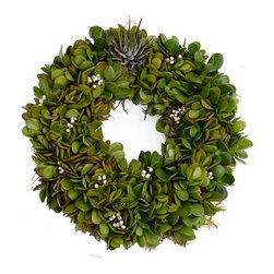 """Urban Farm Girls - Living Wreath EOS 12"""" - This gorgeous, green living wreath is hand-made with succulents. This is will definitely win your door 'best decorated' in your neighborhood! Water regularly (1x) per week by spraying or soaking, allow to dry between waterings, fertilize with orchid mix 1x a month for optimal growth. Will not tolerate full sun or frost. Great indoors or out."""