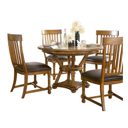 American Drew - American Drew Americana Home 5 Piece Artisan's Round Dining Room Set in Warm Kha - Americana Home is a casual lifestyle grouping with an eclectic mix of design elements, finishes, and materials. Crafted with Pin Knotty Oak veneers with hardwood solids. Americana Home creates an inviting and comfortable setting for any lifestyle and personality. The best elements of casual country, modern lodge, coastal cottage and urban loft living combine to bring a unique sense of timeless and comfortable places from all over the American andscape. Americana Home creates an inviting and comfortable setting for any lifestyle and personality. Design the perfect timeless escape in your own home.