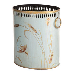 Wheat Tole Wastebasket - Wisteria's home décor accessories collection includes several different assortments of containers & wastebaskets including this little handpainted iron tole wastebasket.