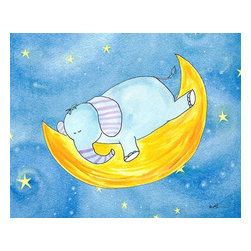 Oh How Cute Kids by Serena Bowman - Sweet Dream Elephant, Ready To Hang Canvas Kid's Wall Decor, 11 X 14 - Each kid is unique in his/her own way, so why shouldn't their wall decor be as well! With our extensive selection of canvas wall art for kids, from princesses to spaceships, from cowboys to traveling girls, we'll help you find that perfect piece for your special one.  Or you can fill the entire room with our imaginative art; every canvas is part of a coordinated series, an easy way to provide a complete and unified look for any room.