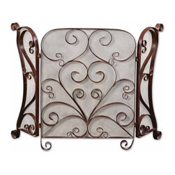 Uttermost - Uttermost 20278 Daymeion Metal Fireplace Screen - Uttermost 20278 Daymeion Metal Fireplace Screen