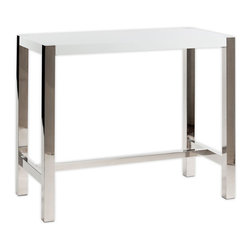 Moe's Home Collection - Moe's Home Riva Rectangular Bar Table in White - Contemporary bar table in white lacquer with stainless sleet base. Seats 4