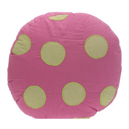 Pem America - Crazy Pink Ladybug Pillow - Bright bands of pink and lime green with just what you would think...crazy pink lady bugs appliqued on the quilt. 1 Round pillow, 16 inches in diameter with a 2 inch gusset. 100% cotton shell with polyester fill. Machine washable.