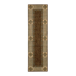 """Nourison - Nourison Vallencierre VA27 2'3"""" x 8' Brown Area Rug 61871 - In extravagant hues of chocolate brown, blue, green and sparkling champagne, a majestic bordered leaf design becomes even more alluring. Painstaking hand carving and hand finishing lend an extraordinary look and feel."""