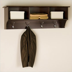 Prepac Fremont Espresso Cubbie Shelf - The versatile and stylish Fremont Entryway Cubbie is simple in design, featuring three open shelf areas and four hooks perfect to hang your things. Well-suited to a number of decors, a profiled top and solid antiqued bronze accents combine with a warm Espresso finish make it a welcoming contemporary statement to your room.