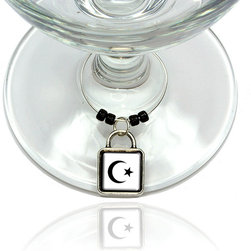 """Made on Terra - Star Crescent Wine Glass Silver Charm - Your guests have arrived and the atmosphere is electric. A sip of wine here, a sip of a cocktail there and you find the conversation turning to the charming baubles you've placed on the glasses, something special you chose for each of your eclectic guests. They love them and appreciate your thoughtfulness. You love them for their uniqueness and that no one forgets which glass they were using.  Choose from Made on Terra's many designs for the best party ever. Ring is 1"""" diameter; measures 2"""" from top of ring to bottom of charm. Made of metal and plastic. Sold individually."""