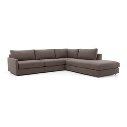 Drake 3-Piece Sectional Sofa - A livable mix of family-friendliness and easy elegance with modern European roots. Upholstered in a chunky basketweave of warm heathered greys, the Drake collection offers a host of deep-seated, plump, cushioned pieces for custom lounging solutions in any space.