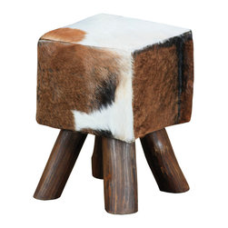 Sterling Industries - Ilford Small Square Stool - This Ilford square stool is made of mahogany wood. Features simple stylish design yet functional and suitable for any room. This single person stool is a great accent piece for a wide range of settings. Perfect for living room, family room, play room or bedroom. Available in small size and cow hide finish with brown legs.