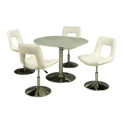Pastel Furniture - Pastel Furniture Sundance Frosted Glass 5 Piece Dining Set with Dublin Chairs - Pastel Furniture - Dining Sets - SU5154417DL110CH9785PKG - Pastel Furniture Dublin Side Chair with Lift Upholstered in Ivory