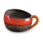 Wicker Handled Red Bowl - Handcrafted clay pottery