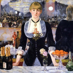 "Edouard Manet A Bar at the Folies-Bergere - 18"" x 24"" Premium Archival Print - 18"" x 24"" Edouard Manet A Bar at the Folies-Bergere premium archival print reproduced to meet museum quality standards. Our museum quality archival prints are produced using high-precision print technology for a more accurate reproduction printed on high quality, heavyweight matte presentation paper with fade-resistant, archival inks. Our progressive business model allows us to offer works of art to you at the best wholesale pricing, significantly less than art gallery prices, affordable to all. This line of artwork is produced with extra white border space (if you choose to have it framed, for your framer to work with to frame properly or utilize a larger mat and/or frame).  We present a comprehensive collection of exceptional art reproductions byEdouard Manet."