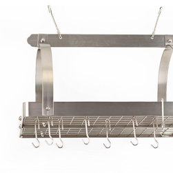 Old Dutch International - Satin Nickel Pot Rack w/Grid & 24 Hooks - Not to leave you hanging, but this pot rack made of heavy steel is off the hook. Traditional in design and materials, this powerhouse of the kitchen includes a grid and 24 sturdy hooks to keep your cookware frightfully organized and pleasingly within reach.