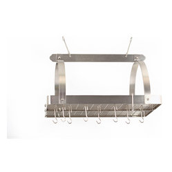 Satin Nickel Pot Rack with Grid and 24 Hooks