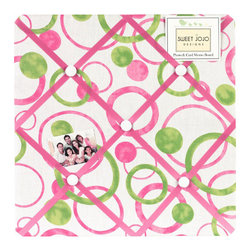 Sweet Jojo Designs - Pink Circles Fabric Memo Board - The Pink Circles Fabric Memo Board with button detail is a great way to display photos, notes, and postcards on your child's wall. Just slip your mementos behind the grosgrain ribbon to create an engaging piece of original wall art. This adorable memo board by Sweet Jojo Designs is the perfect accessory for the matching children's bedding set.