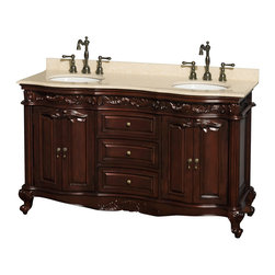 "Wyndham Collection - Edinburgh 60"" Bathroom Vanity in Cherry, Ivory Top, UM Oval Sinks, No Mirs - Form and function collide beautifully in the Edinburgh bathroom vanities. Inspired by the classic designs of Victorian England, this collection is a hallmark of taste and style, destined to become an heirloom and to lend a subtle grace to your bathroom environment. Richness of finish, beautiful composition and great attention to detail are the marks of this series."