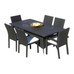 MangoHome - Outdoor Patio Wicker All Weather Resin 7 Piece Dining Table and Chair Set - This amazing outdoor dining set comes with 7 different pieces. It is very functional and can be arranged many different ways to meet your needs! Look at our pictures to view all of the possibilities! Each wicker set is hand crafted by trained professionals with premium quality materials assuring your set will last many years!