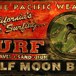 Red Horse Signs - Vintage Beach Signs Surf Shop Half Moon Bay - Put  your  favorite  beach  on  this  Surf  Shop  sign  for  a  customized  vintage  sign  that's  ready  for  rec  room  pool  house  beach  house  or  patio  by  the  pool.  Measuring  14x24  inches  this  sign  is  printed  directly  to  distressed  wood  for  a  rustic  look  with  a  weathered  finish.