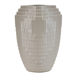 Selectives - Future Medium Vase - Crafted of ceramic, this intricately designed vase brings personality and dimension to a room without clashing with the decor. Fill it with a sunflower or gladiolus for a pretty pop of color.