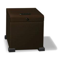 Landport Designer Lockbox - The Landport Essential Cube. Ideal for smaller porches. Shown here in Dark Brown powdercoat. Black and Cream also available.