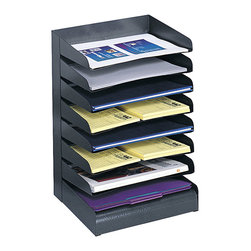 "Safco - Steel Desk Tray Sorter 8 Shelf - Black - Sturdy steel is a smart solution! All steel organizing accessories are extra sturdy and useful. Answering today's need for continuing workplace efficiencies, Safco desk tray sorters will help store and organize open projects, file folders and paper supplies at your fingertips. All steel construction has a contemporary finish that resists fingerprints. Slanted shelves with finger cut-outs provide convenient access to contents. Available in 3-, 4-, 5-. 6- and 8-tier designs to accommodate letter-size material. Rubber feet included to protect work surface.; Features: Material: Steel; Color: Black; Finished Product Weight: 11 lbs.; Assembly Required: No; Limited Lifetime Warranty; Dimensions: 12""W x 9 1/2""D x 17 3/4""H"