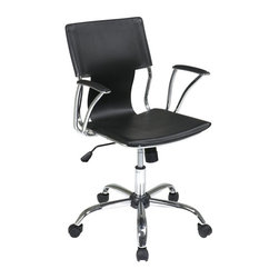 Ave Six - Office Chair in Black - Avenue Six Dorado - A contoured seat and back with built-in lumbar support and a five-prong base with casters highlights this stunning office chair, made of metal and PVC in black and chrome colored finishes. Ideal for home or commercial use, the chair will bring a fresh, modern look to any interior design. Made of PVC and Metal. Contour seat and back with built-in lumbar support. One touch pneumatic seat height adjustment. Locking tilt control with adjustable tilt tension. Padded armrest with Chrome finish. Heavy duty Chrome finish base with dual wheel carpet caster. Black color. 1 year warranty. Some assembly required. 21.5 in. L x 22.25 in. W x 38 in. H