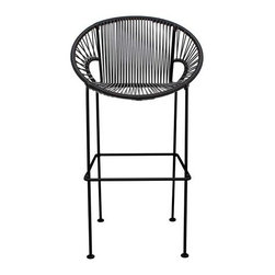 "Innit Designs - Puerto Stool, Black, Bar Height (31"" Seat Height) - The Puerto Stool, inspired by our own Concha dining chair.  Composed of a vinyl cord seat and powder-coated steel frame.  Available in Bar or counter height.  Easy to clean, it will never blow over, commercial friendly, doesn't stay wet.  Peferct for outdoors and In."