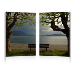 "Baxton Studio - Baxton Studio Pristine View Mounted Photography Print Diptych - Neatly framed by two stately trees, a scene of still waters and majestic mountains unfolds beyond a solitary wooden park bench. This idyllic photograph is printed on waterproof vinyl canvas, adhered to two MDF wood frames, and is ready to hang in your home or office. The Pristine View Modern Wall Art Set is made in China and does not include mounting hardware. The two piece set should be wiped clean with a dry cloth. Product dimension: 15.75""W x 1""D x 23.62""H"