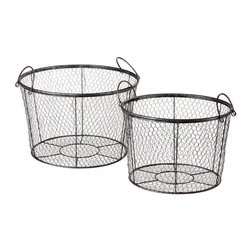 of 2 - Small-gauge chicken wire gives these nesting baskets an unusual ...