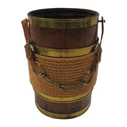 Pre-owned Horse Bit Bucket - One of a kind wooden plank bucket that features brass trim detailing, coiled rope around the center, and the truly unique leather strap and horse bit handle. It can be used for anything- from a planter to an outdoor wine bucket.