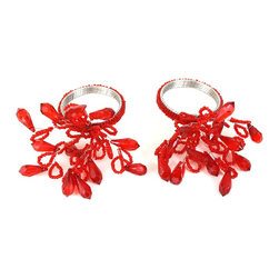 """MarktSq - Red Beaded Napkin Ring (Set Of 2) - This elegant napkin ring is made of red beads. The beads spread out to 4"""" x 3"""" and the the beaded ring is 1.5"""" in diameter."""