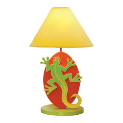 Lizard Lamp - Our Lizard Lamp will liven up any little boys or girls room. Wood base, fabric shade and brass finished fixtures.