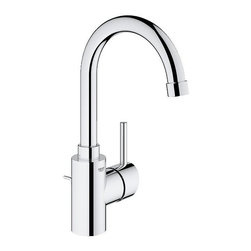 Grohe - Grohe 32138001 Concetto Single-Lever Bathroom Faucet, Starlight Chrome - Grohe 32138001 Concetto Single-Lever Bathroom Faucet, Starlight Chrome Exploiting the beauty of the cylindrical form, the Concetto collection reflects the core values of Contemporary design, resulting in a precisely executed meeting of lines, angles and curves that combine superior ergonomics with a modern aesthetic. Concetto's new high spout design ensures that there is a faucet to match every basin permutation. Featuring an extra-wide operating angle, its elegant arch is highlighted by GROHE StarLight technology - our renowned chrome finish. The combination of GROHE SilkMove technology with a long lever handle, delivers fingertip control of the water. Grohe 32138001 Concetto Single-Lever Bathroom Faucet, Starlight Chrome Features: Single-lever Bathroom Faucet Single hole installation GROHE StarLight chrome finish GROHE SilkMove ceramic cartridge Adjustable flow rate limiter Swivel tubu