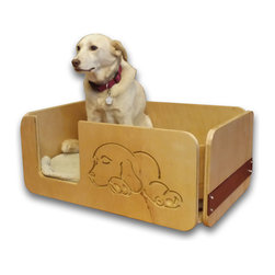 djk workshop - Plywood Dog Bed - I designed this dog bed with extra high sides to give your canine a sense of security, and their own sense of place. The side panel has an inlaid piece of stained poplar where your dog's name can be routed out, in the same fashion as the dog on the front. the inlaid poplar is removable in case you would like to change out the name or message in the future. The inlay can either be stained in Sangria (red) as shown in the photos, or Ebony (black). If you would like a different color, I can do that as well. please note that in the comments section, along with your dog's name. I will send you a proof of the name before production. The rest of the bed , made with either oak or birch, has a clear polyurethane finish. This product is made to order, and will be built after the order is placed.