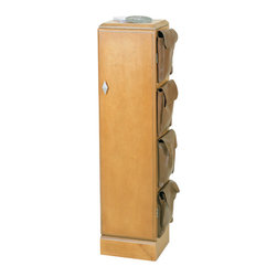 Welcome Home Accents - CD Cabinet - This CD/DVD cabinet has 5 adjustable shelves and four Velcro closure leather cargo pockets for optimal storage space. Keep things organized and stylish with this piece. Maplewood finish and a brushed nickel knob completes the look. Some assembly required