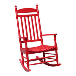 International Concepts - International Concepts R-54210 Porch Rocker - Turned Post - Solid Wood - Red - Porch Rocker - Turned Post - Solid Wood - Red by International Concepts Rocker (1)
